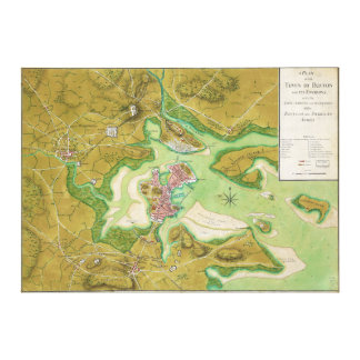 Boston Massachusetts Revolutionary War Map Canvas Print