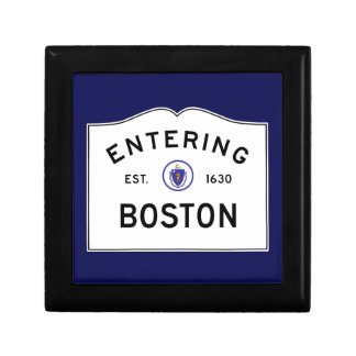 Boston Massachusetts Road Sign Keepsake Box