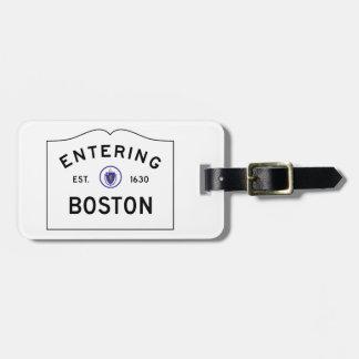 Boston Massachusetts Road Sign Luggage Tag