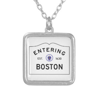 Boston Massachusetts Road Sign Necklace. Silver Plated Necklace