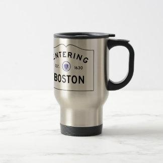 Boston Massachusetts Road Sign Travel Mug