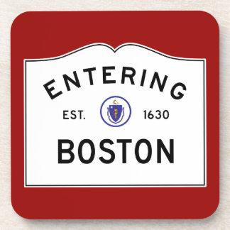 Boston Massachusetts Sign Beverage Coaster - Red