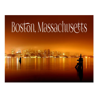 Boston, Massachusetts, Skyline At Night - USA Postcard
