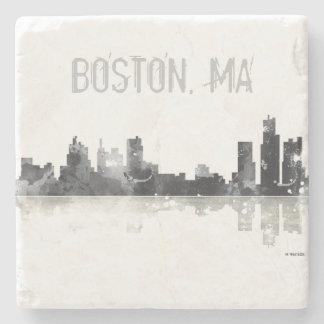 BOSTON MASSACHUSETTS SKYLINE - Stome drinks coaste Stone Coaster