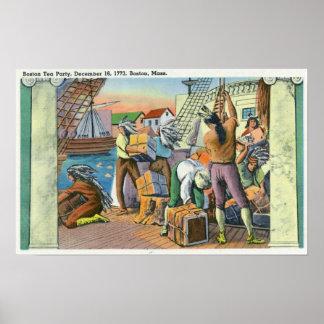 Boston MassachusettsBoston Tea Party Scene Posters