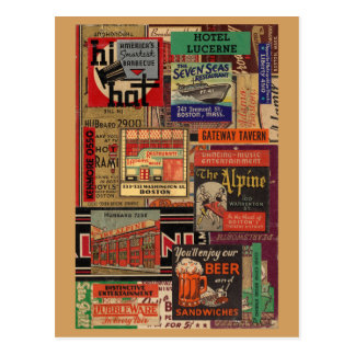 Boston matchbook cover collage postcard
