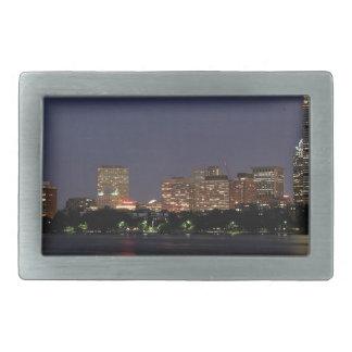 Boston Night Skyline Rectangular Belt Buckles