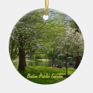 Boston Public Garden Double-Sided Ceramic Round Christmas Ornament