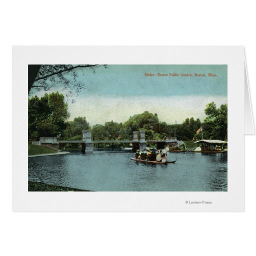 Boston Public Garden View of the Bridge Greeting Cards