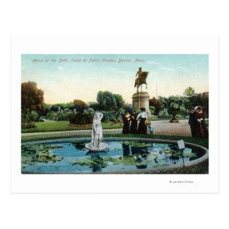 Boston Public Garden View of Venus at the Bath Postcard