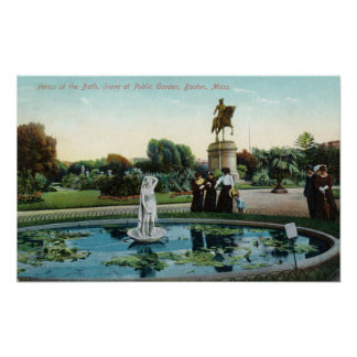 Boston Public Garden View of Venus at the Bath Poster