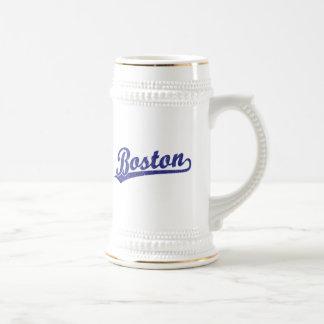 Boston script logo in blue coffee mugs