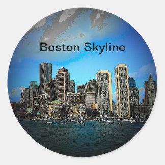 Boston Skyline Cartoon Art Classic Round Sticker