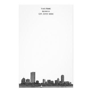 Boston Skyline Etched 01 Stationery