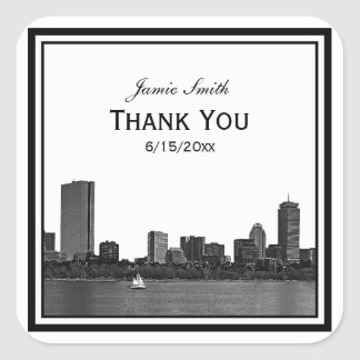Boston Skyline Etched Framed Thank You Square Sticker