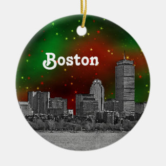Boston Skyline Etched Green Red Starry Sky Xmas Double-Sided Ceramic Round Christmas Ornament