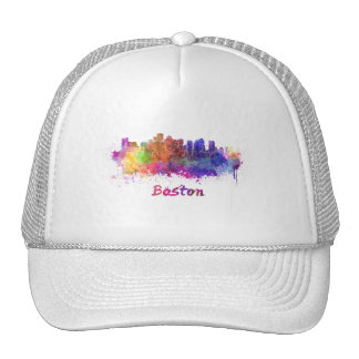Boston skyline in watercolor cap