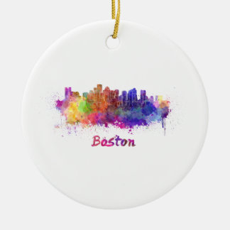 Boston skyline in watercolor ceramic ornament