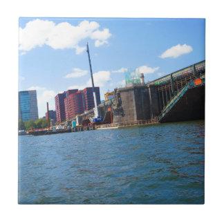 Boston skyline lake view bridges ferries fantastic small square tile