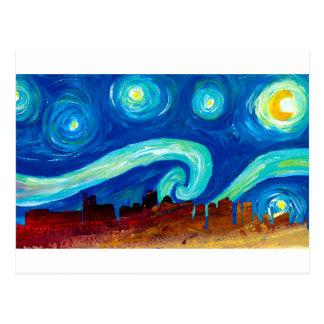 Boston Skyline Silhouette with Starry Night Postcard