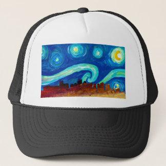 Boston Skyline Silhouette with Starry Night Trucker Hat