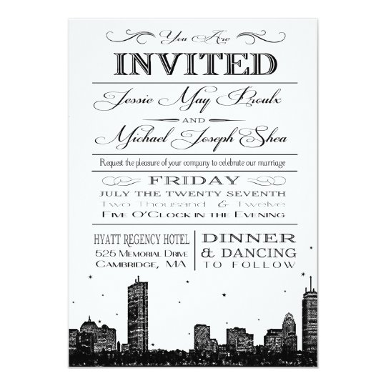 Boston skyline wedding invitation