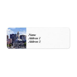 Boston Skyline With Custom House Tower Save Date Return Address Label
