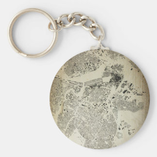Boston Streets and Buildings Map Antic Vintage Key Ring