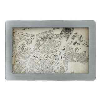 Boston Streets and Buildings Map Antic Vintage Rectangular Belt Buckle