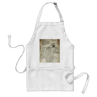 Boston Streets and Buildings Map Antic Vintage Standard Apron