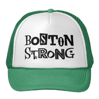 Boston Strong Ball Cap, green and white Trucker Hat