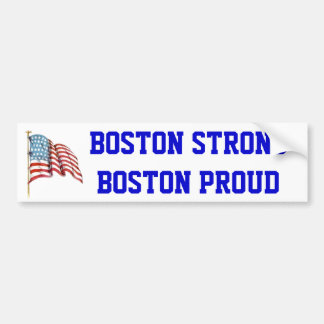 Boston Strong Boston Proud with USA American Flag Car Bumper Sticker