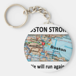 Boston Strong Map Key Ring