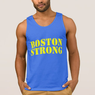 BOSTON STRONG Yellow And Blue Stencil Tank Top