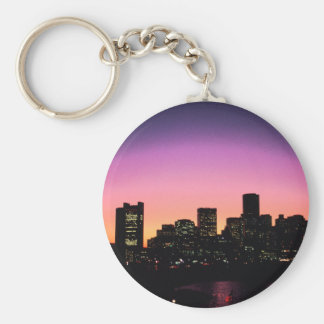 Boston Sunset Skyline From The Harbor .png Basic Round Button Key Ring