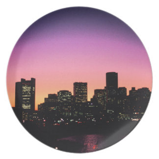 Boston Sunset Skyline From The Harbor .png Dinner Plates