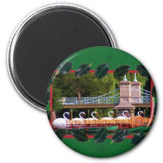 Boston Swan Boats- Boston Public Garden 6 Cm Round Magnet