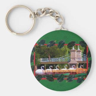Boston Swan Boats- Boston Public Garden Basic Round Button Key Ring
