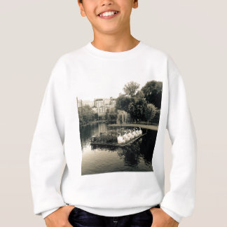 Boston Swan Boats In Black and White Sweatshirt