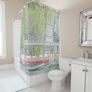 Boston Swan Boats Pencil and Ink shower curtain