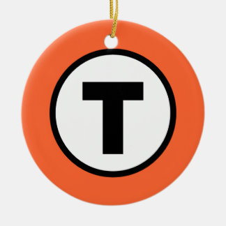 Boston T Orange Line Ceramic Ornament