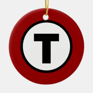 Boston T Red Line Ceramic Ornament