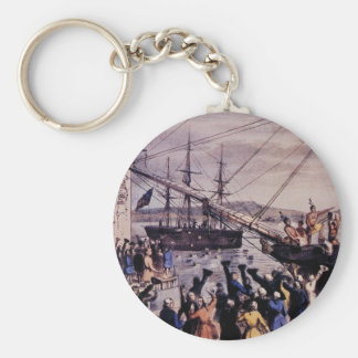 Boston Tea Party Basic Round Button Key Ring