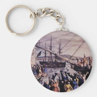 Boston Tea Party Basic Round Button Key Ring