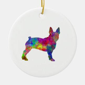 Boston Terrier 01 in watercolor Ceramic Ornament