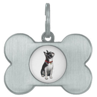 Boston Terrier (A) - looking up Pet Name Tag