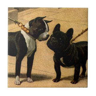 Boston Terrier and French Bulldog Ceramic Tile