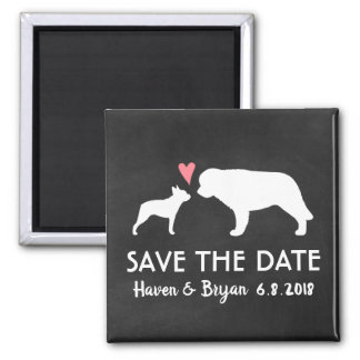 Boston Terrier and Saint Bernard Save the Date Magnet