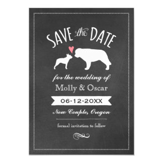 Boston Terrier and Saint Bernard Save the Date Magnetic Card