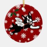Boston Terrier Angel Cartoon Snowflakes